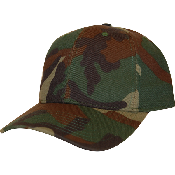Woodland Camo 6 Panel Cap - KL100WC Made In USA Hats - Cali Headwear