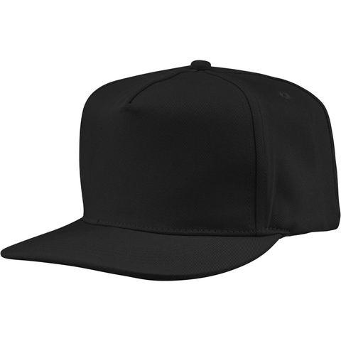 US01PW 5 Panel Twill Snapback Black