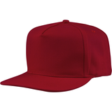 US01PW 5 Panel Twill Snapback Cardinal