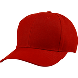 US04 6 Panel Cap Curved Bill Red