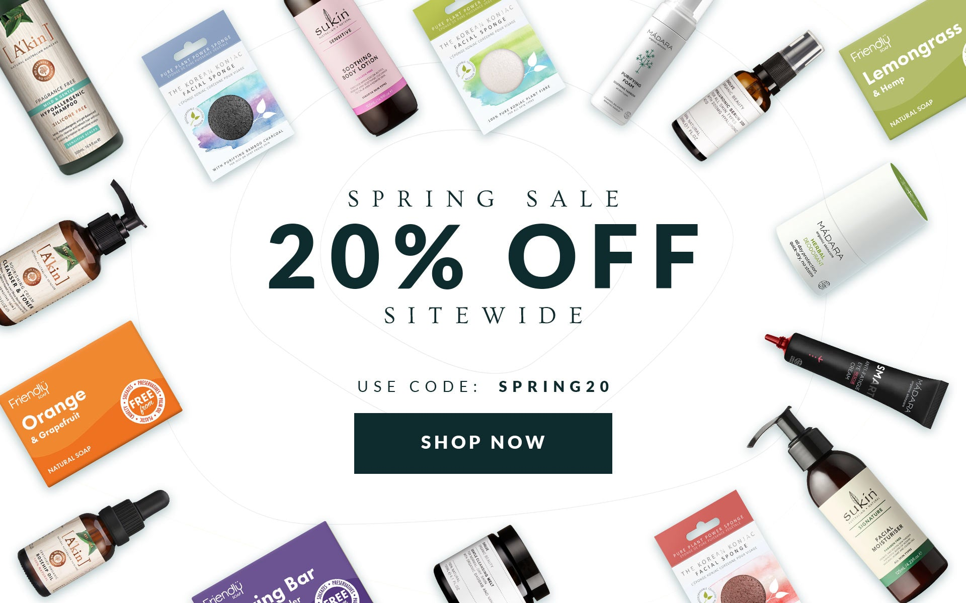 20% off site wide.  Use code SPRING20