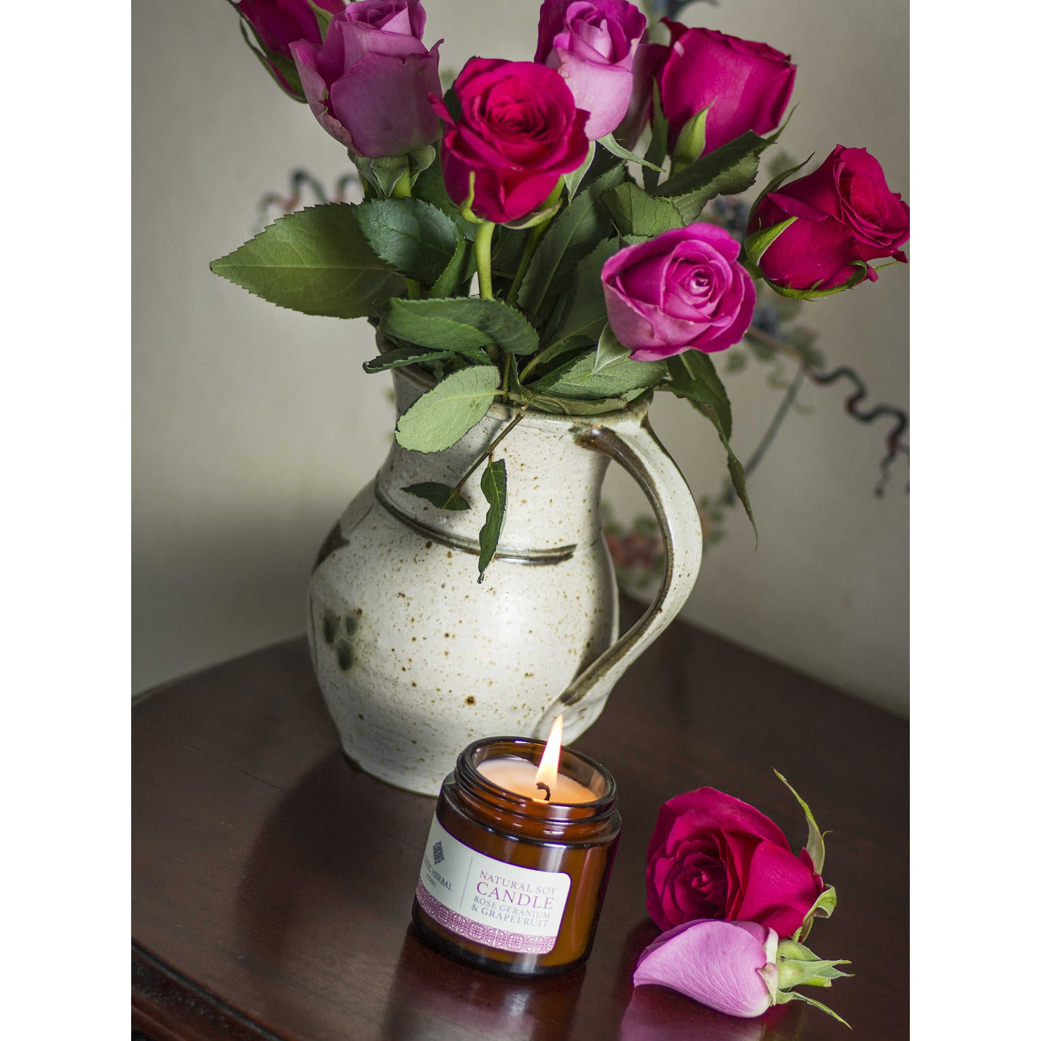 Rose, Geranium & Grapefruit Soy Wax Candle