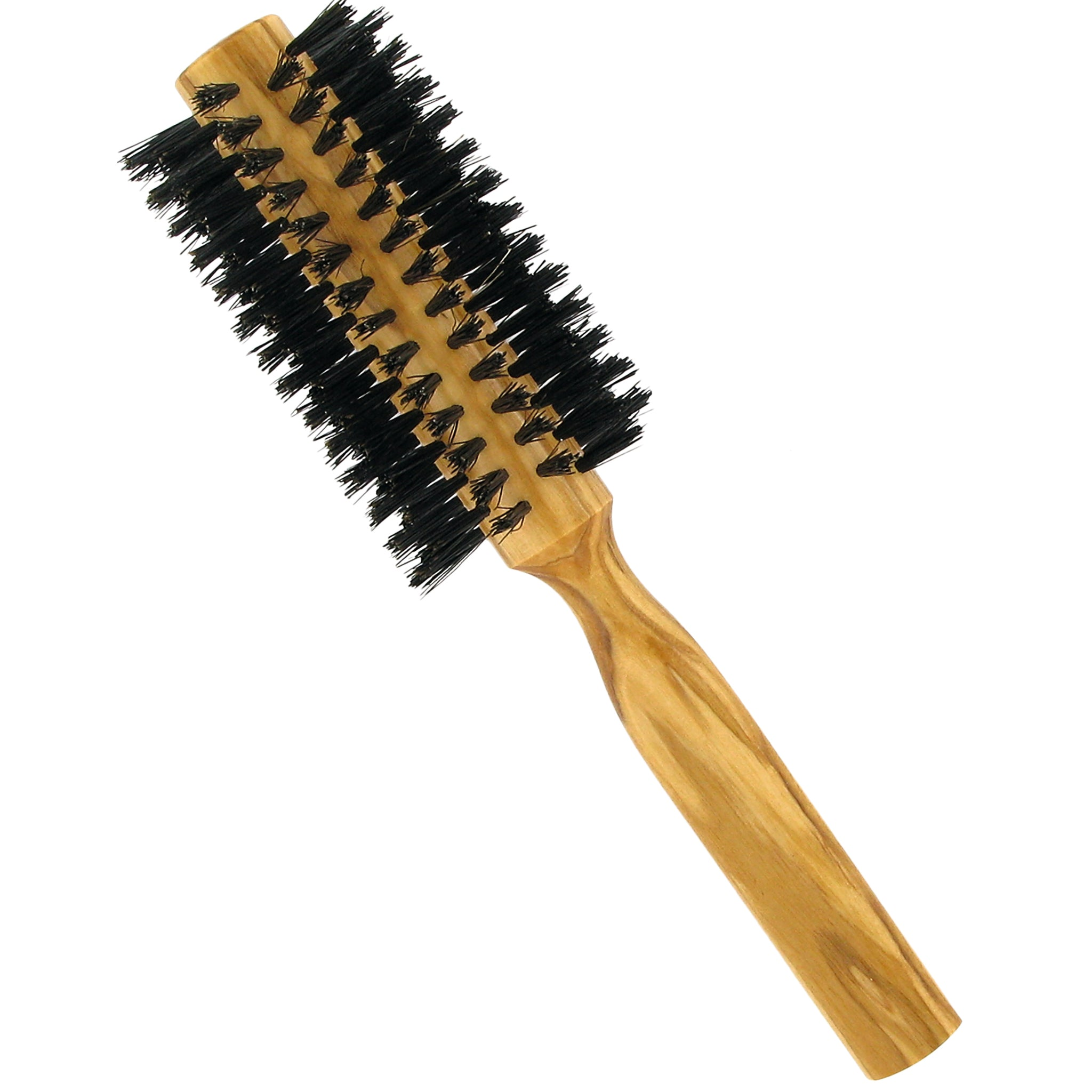 Olive Wood Round Brush with Boar Bristles