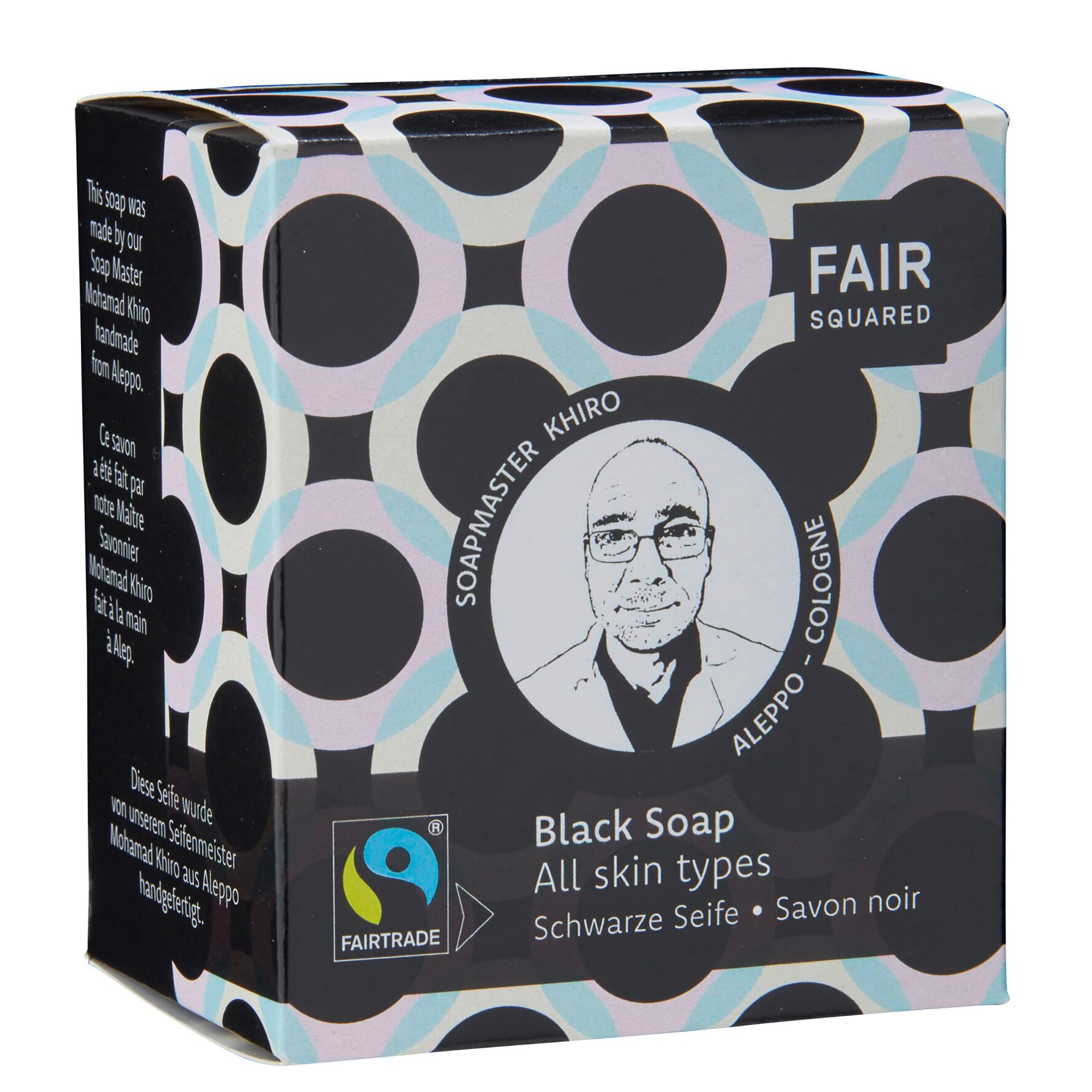 Facial Black Soap with Cotton Soap Bag - For All Skin Types