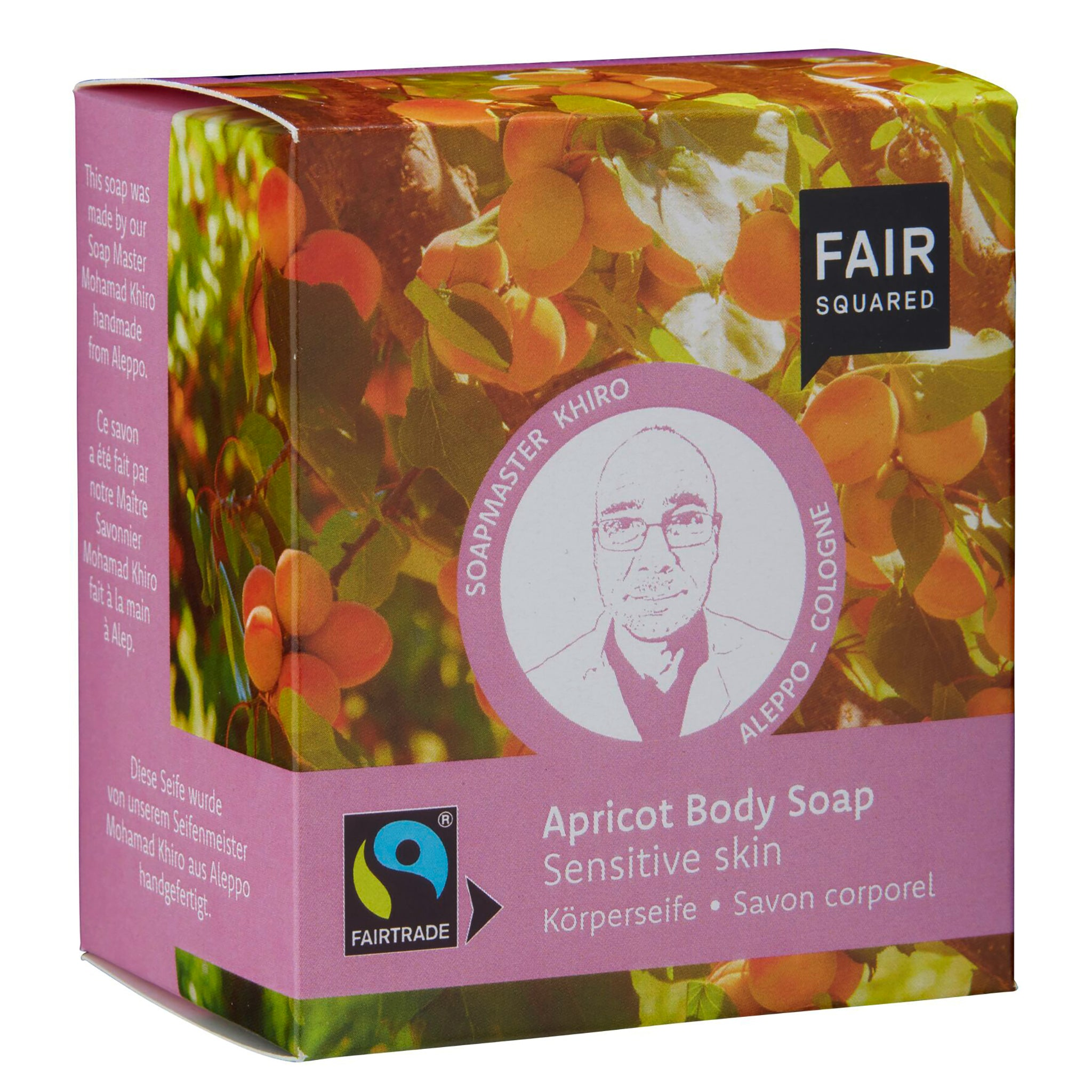 Apricot Body Soap with Cotton Soap Bag - For Sensitive Skin