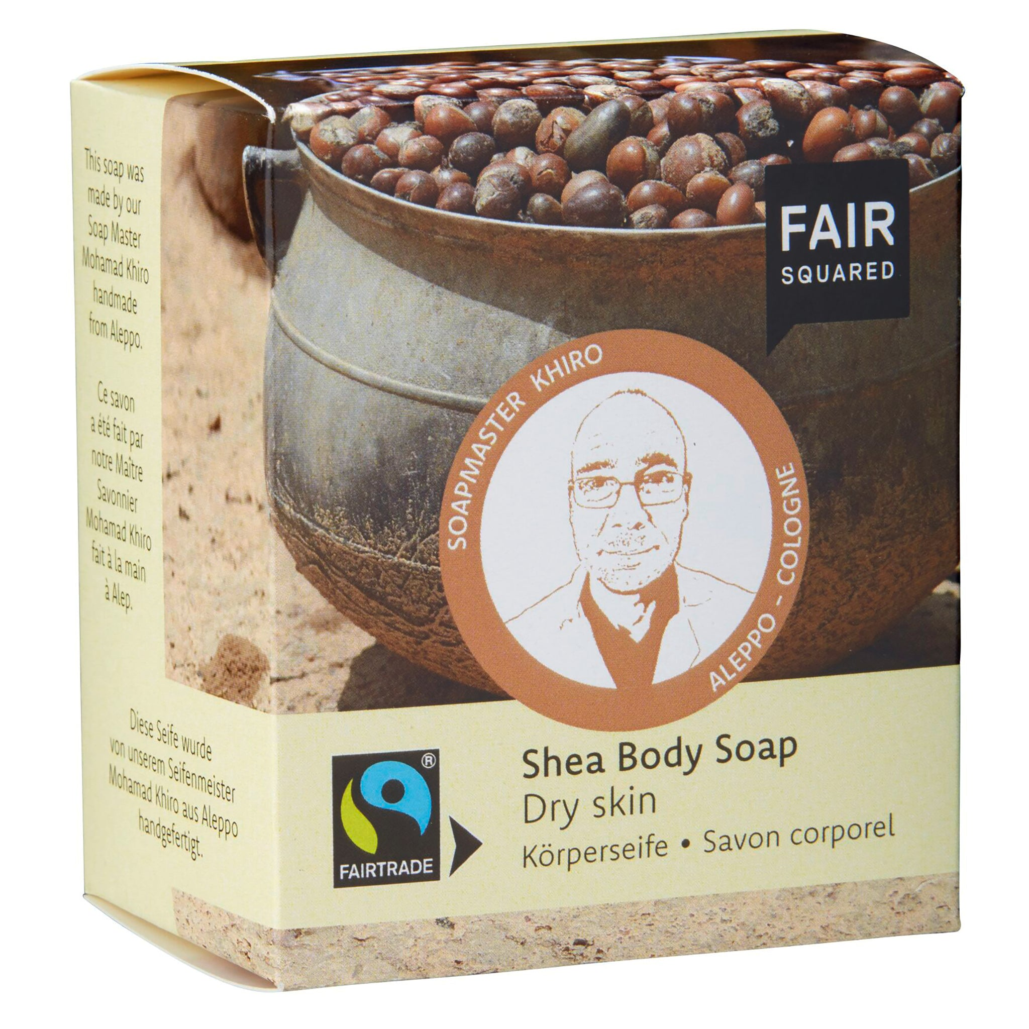 Shea Body Soap with Cotton Soap Bag - For Dry Skin