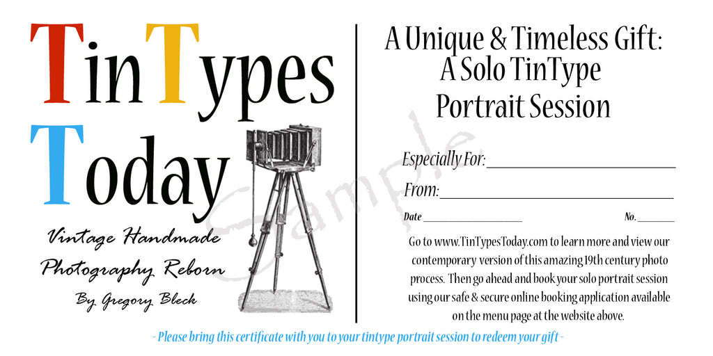 Tintype Gift Certificate (Single)