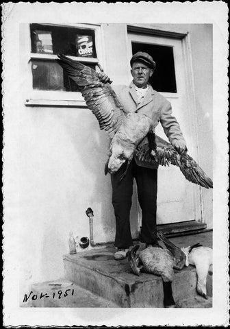 Man Displaying Dead Geese | Vintage Snapshot Reproduction