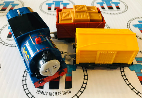 Timothy and Cargo Cars (no Cargo in red Car) (2013) Good Condition Used - Trackmaster