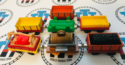 7 Cargo Cars with Assorted Cargo Used - Take N Play