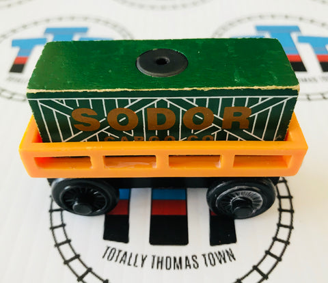 Cargo Car Orange with Green Cargo Rare Wooden - Used - Totally Thomas Town