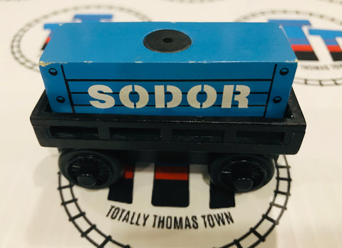 Cargo Car Black with Blue Cargo Good Condition Wooden - Used - Totally Thomas Town