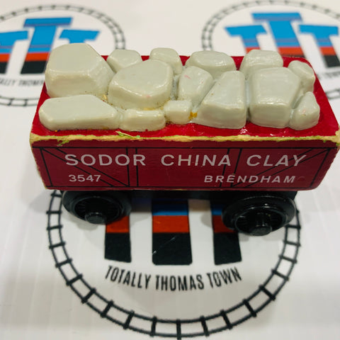 Red China Clay Car (1997) Fair Condition Rare Wooden - Used