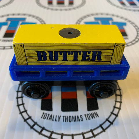 Blue Cargo Car Black with Butter Cargo (2003) Wooden - Used