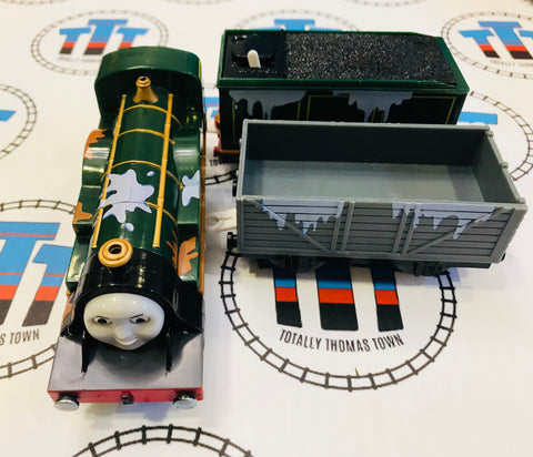 Paint Splatterd Emily & Tenders (2009) Good Condition Used - Trackmaster - Totally Thomas Town