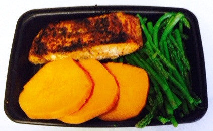 Complete Meal - Blackened Salmon with Asparagus and Sweet Potato