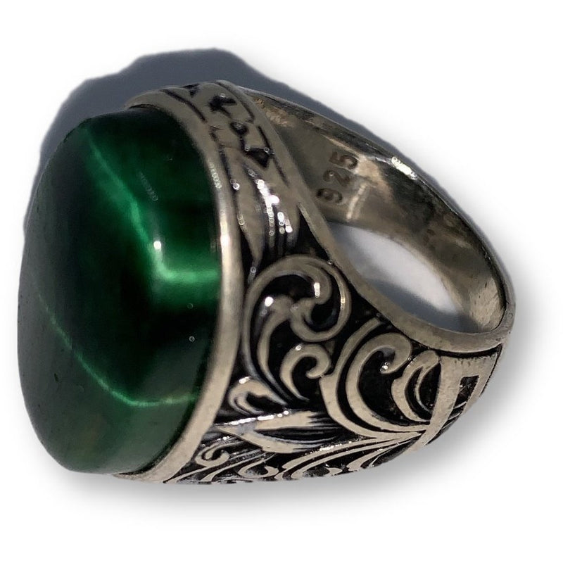Men's silver ring with natural stone