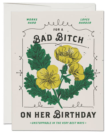 Bad Bitch Flowers Card