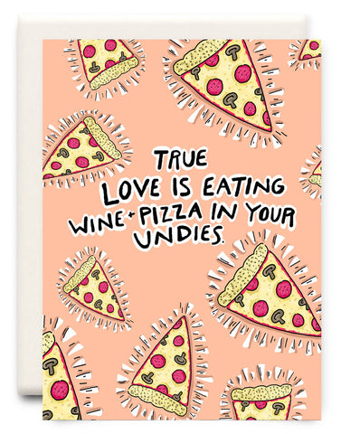 Wine and Pizza in Undies Card
