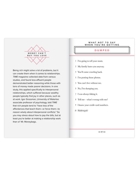 What Not To Say Love Book