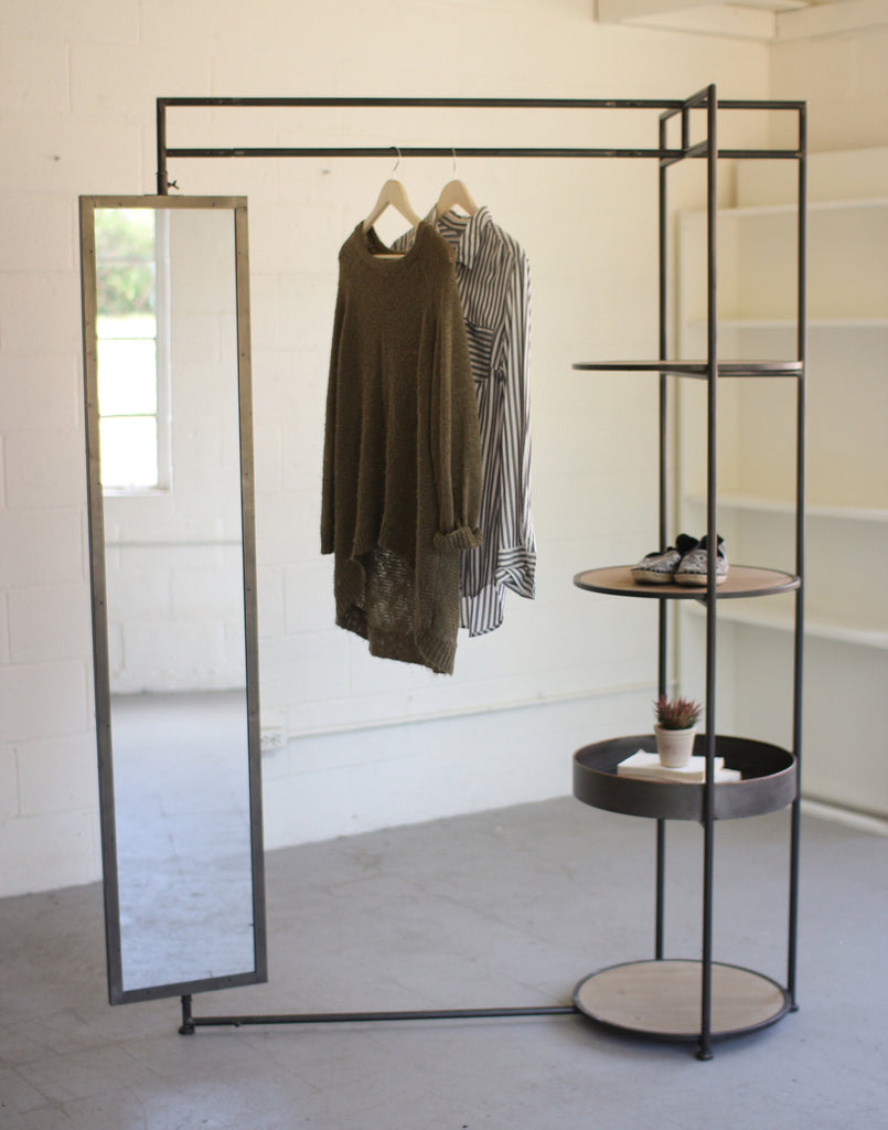 Clothing Rack with Mirror and Shelves