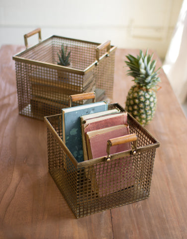 Antiqued Brass Square Basket