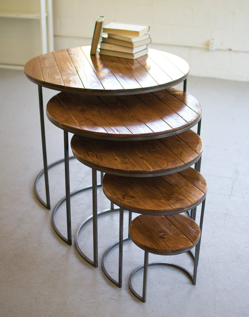 Round Wood and Metal Table
