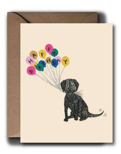 Black Puppy Birthday Card