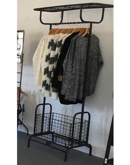 Tall Metal Rack with Basket
