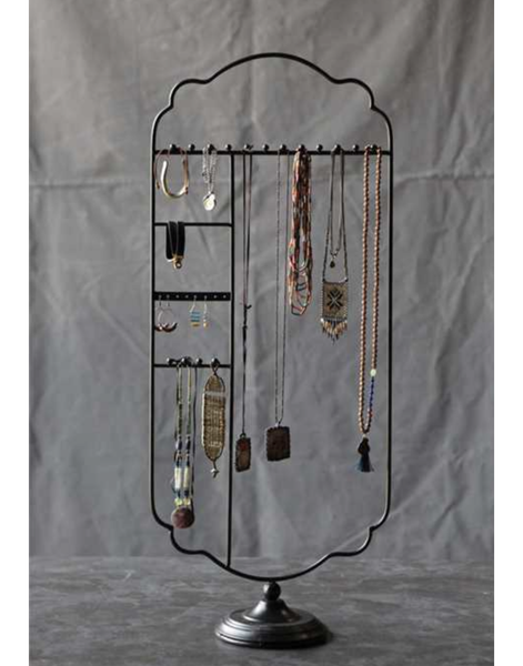 Tall Black Metal Table Jewelry Holder