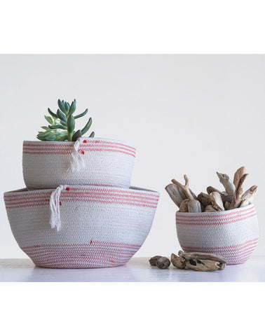 Red and White Rope Basket