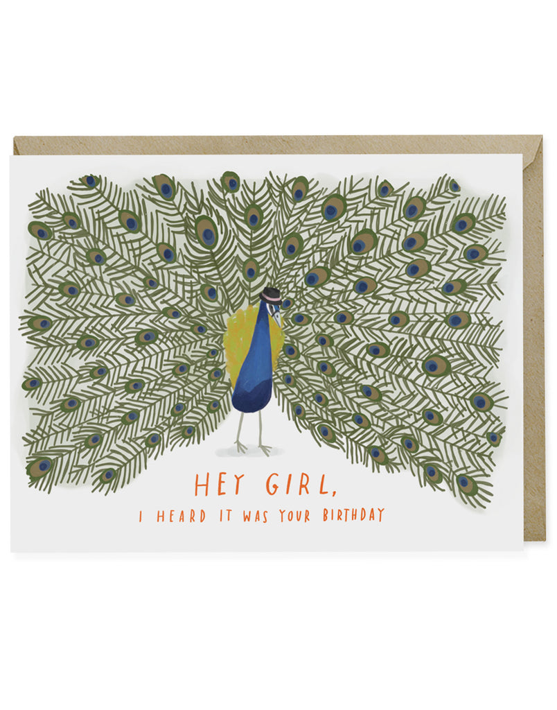 Hey Girl Peacock Card