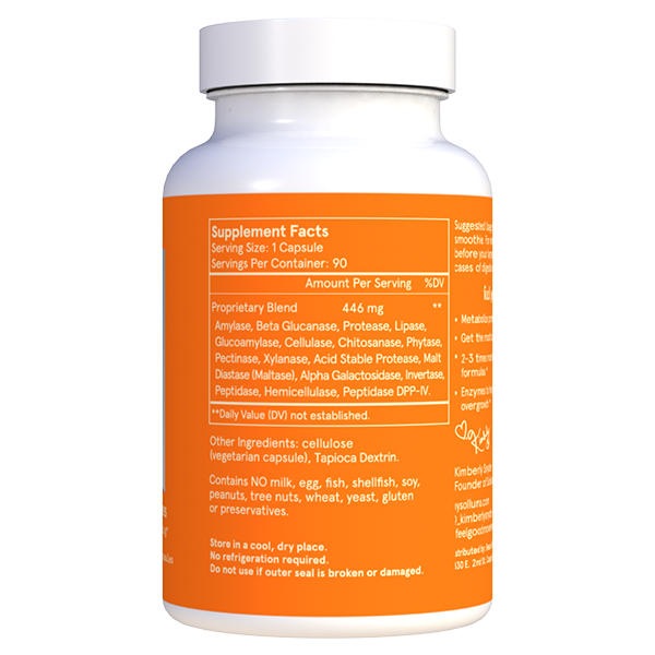 Feel Good Digestive Enzymes Bottle Supplement Facts
