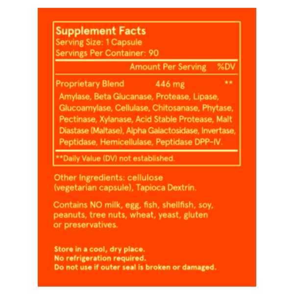 Feel Good Digestive Enzymes Supplement Facts Label