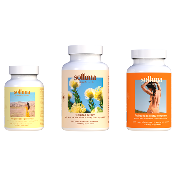 Feel Good Starter Kit of individual bottles of Detoxy 2.0, Digestive Enzymes and SBO Probiotics