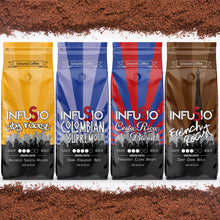Load image into Gallery viewer, InfuSio Gourmet Ground Coffee, (64oz) Variety Pack, Eight 8oz Bags (Pack of 8) - 4lbs Total - With Flavored Blends - Bagged Coffee