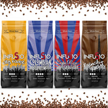 Load image into Gallery viewer, InfuSio Gourmet Whole Bean Coffee, (64oz) Variety Pack, Eight 8oz Bags (Pack of 8) - 4lbs Total - With Flavored Blends - Bagged Coffee