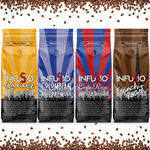 InfuSio Gourmet Whole Bean Coffee, (64oz) Variety Pack, Eight 8oz Bags (Pack of 8) - 4lbs Total - With Flavored Blends - Bagged Coffee