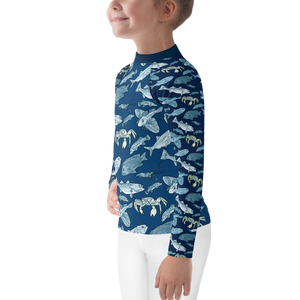 Fish +Crab of Atlantic Kids Rash Guard 2T-7