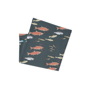Salmon on Dark Gray Neck Gaitor