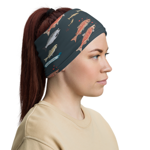Salmon on Dark Gray Neck Gaiter