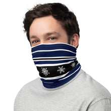 Load image into Gallery viewer, Ski Black White and Navy Stripes Neck Gaiter