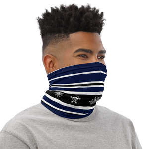 Ski Black White and Navy Stripes Neck Gaiter