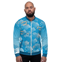 Load image into Gallery viewer, Eels on Rolling Waves Unisex Bomber Jacket