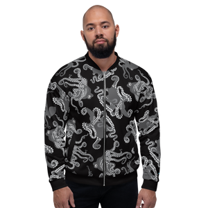 Octopus in Black and White Unisex Bomber Jacket