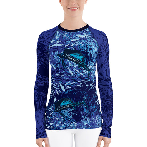 Sailfish on Dark Women's Rash Guard