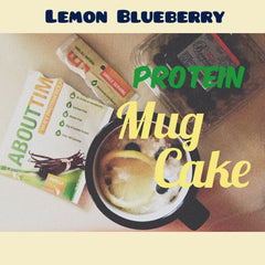Lemon Blueberry Protein Mug Cake recipe from fitfunandfantastic.com