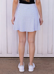 Ultimate Skirt (White Polka Dot)