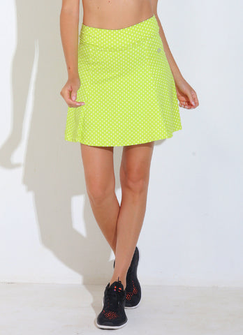 Ultimate Skirt (Lemon Polka Dot)