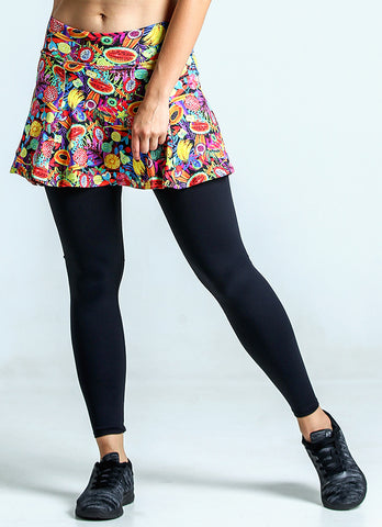 Skirted Legging (Fruity/Blk)
